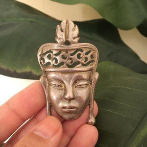 Vintage sterling warrior face brooch, tribal, boho